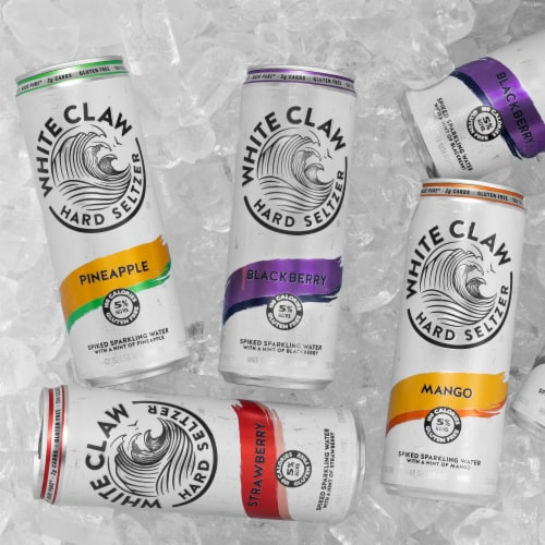White Claw Variety Pack No.3 Strawberry Pineapple Blackberry Mango Hard Seltzer Perspective: right