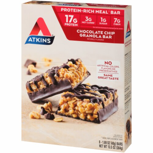 Atkins Chocolate Chip Granola Meal Bars Perspective: right