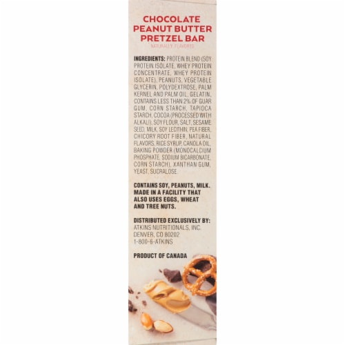 Atkins Advantage Protein-Rich Chocolate Peanut Butter Pretzel Meal Bars 5 Count Perspective: right