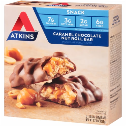 Atkins Caramel Chocolate Nut Roll Bars 5 Count Perspective: right