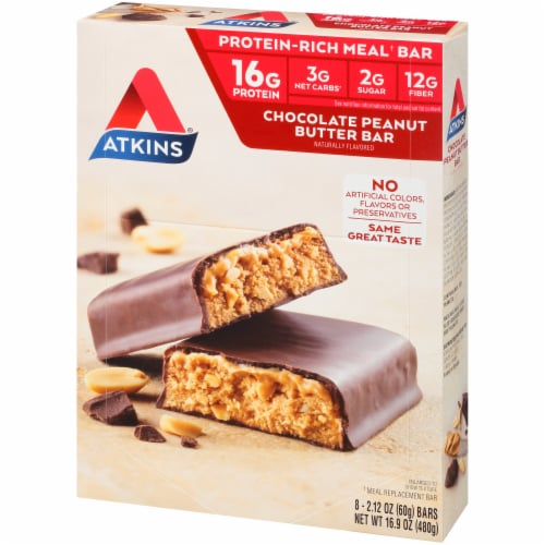 Atkins  Meal Bar Chocolate Peanut Butter - 8 Count Perspective: right