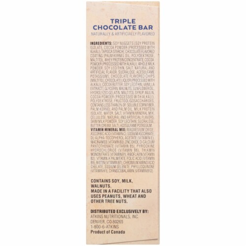 Atkins Triple Chocolate Snack Bars 5 Count Perspective: right
