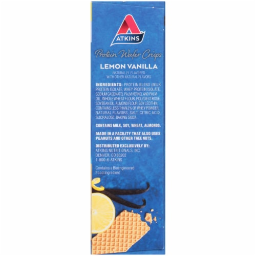 Atkins Lemon Vanilla Protein Wafer Crisps Perspective: right