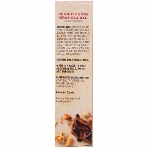 Atkins Protein-Rich  Peanut Fudge Granola Meal Bars 5 Count Perspective: right