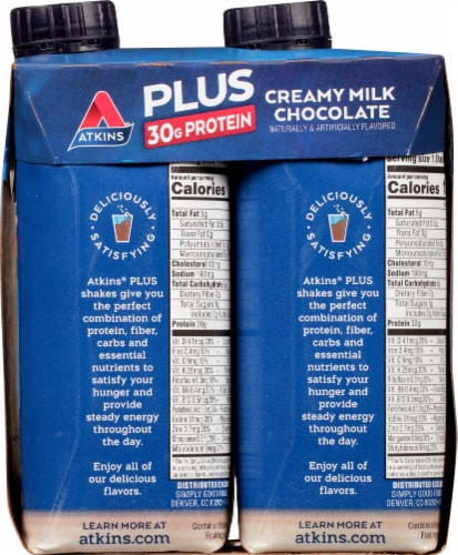Atkins Plus Protein & Fiber Creamy Milk Chocolate Shake Perspective: right