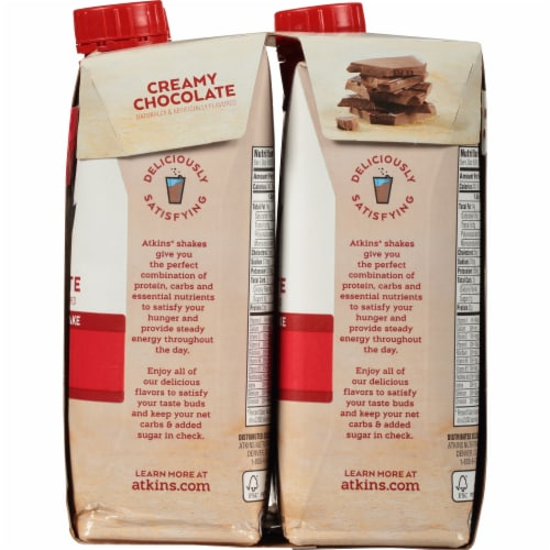 Atkins Creamy Chocolate Protein-Rich Shakes Perspective: right