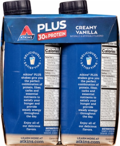 Atkins Plus Protein & Fiber Creamy Vanilla Shake Perspective: right