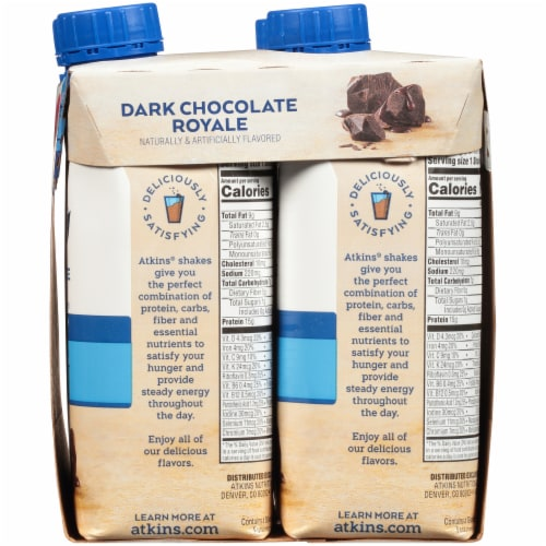 Atkins Dark Chocolate Royale Protein-Rich Shakes Perspective: right