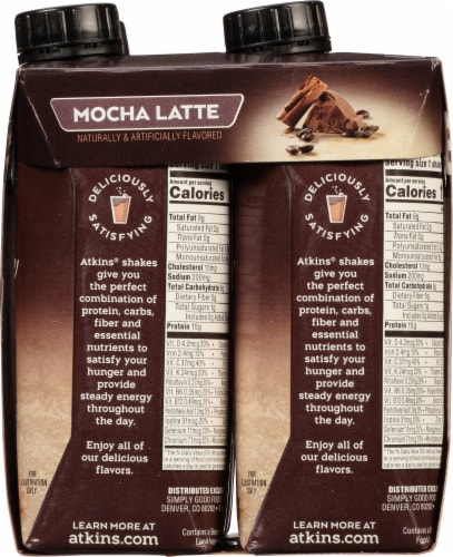 Atkins Mocha Latte Protein-Rich Shakes Perspective: right
