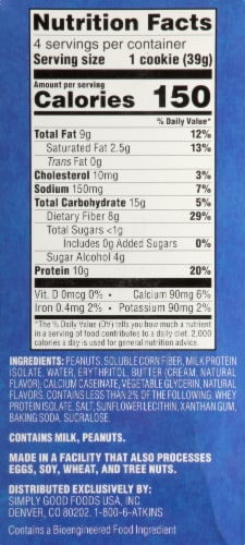 Atkins Peanut Butter Protein Snack Cookies Perspective: right