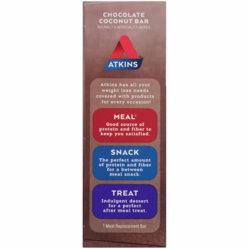 Atkins Endulge Chocolate Coconut Treat Bar 5 Count Perspective: right
