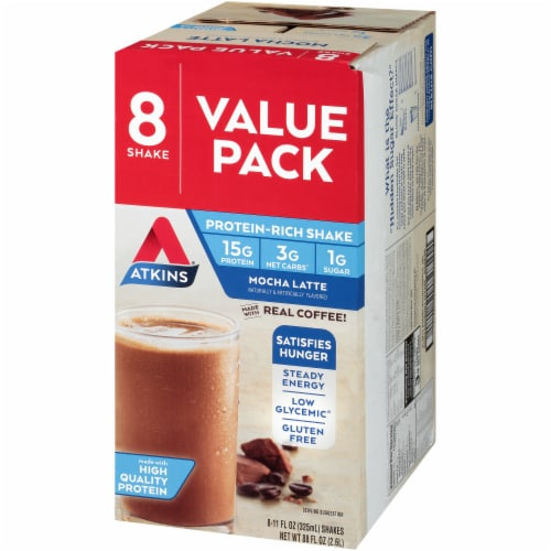 Atkins Ready to Drink Mocha Latte Protein Rich Shakes - 8 Count Perspective: right