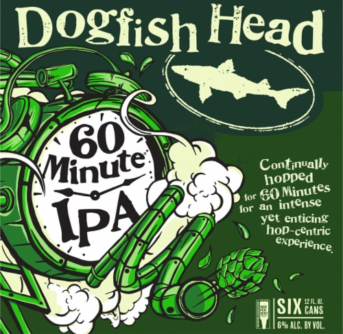 Dogfish Head 60 Minute IPA Beer 6 Cans Perspective: right