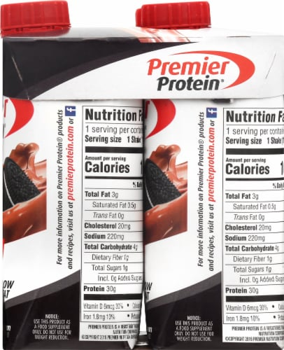 Premier Protein Cookies & Cream High Protein Shakes Perspective: right