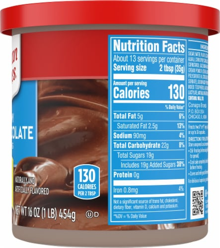 Duncan Hines Creamy Milk Chocolate Frosting Perspective: right
