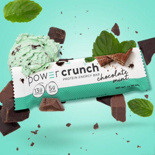 Power Crunch Chocolate Mint Protein Energy Bars Perspective: right