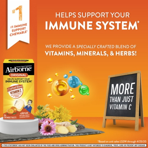 Airborne Immune Support Citrus Chewable Tablets Perspective: right