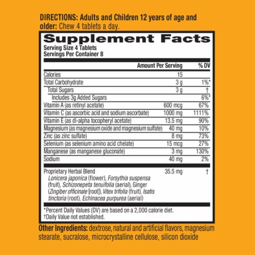 Airborne Citrus Vitamin C 1000mg Immune Support Supplement Chewable Tablets Perspective: right