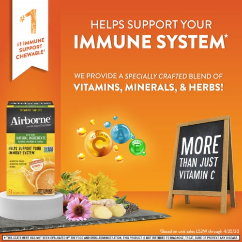 Airborne Immune Support Supplement Zesty Orange Chewable Tablets Perspective: right