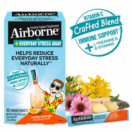 Airborne Everyday Stress Away Zesty Orange Powder Packets Perspective: right