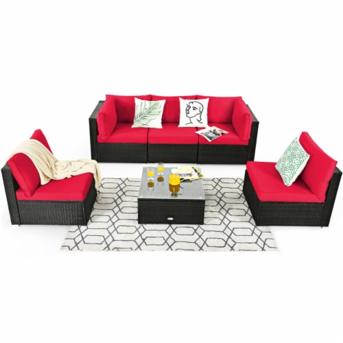 Gymax 6PCS Rattan Outdoor Sectional Sofa Set Patio Furniture Set w/ Red Cushions Perspective: right