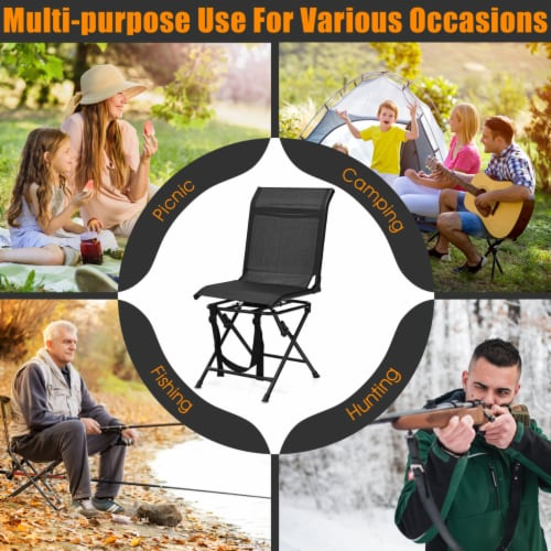 Gymax Folding 360° Silent Swivel Hunting Chair Blind Chair All-weather Outdoor Perspective: right