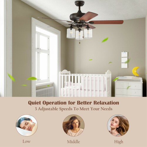 Gymax 52'' Ceiling Fan Light 5 Bronze Finished Reversible Blades w/Pull Chain Perspective: right