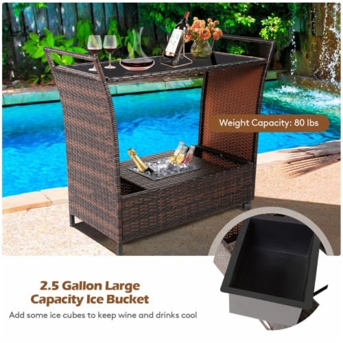 Gymax Rattan Patio Bar Cart Beverage Bar Counter Table w/ Wheels & Ice Bucket Perspective: right