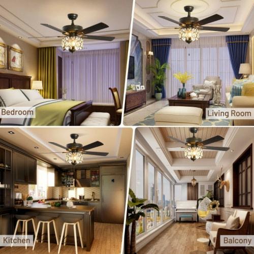 Gymax 52'' Ceiling Fan W/ Light Retro Crystal Chandelier Ceiling Fan 5 Reversible Fan Perspective: right