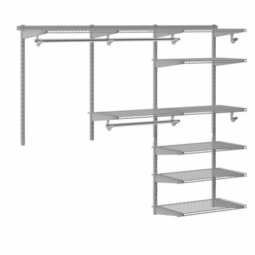Gymax Custom Closet Organizer Kit 4 to 6 FT Wall-mounted Closet System w/Hang Rod Grey Perspective: right