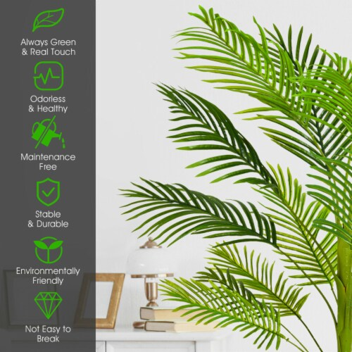 Gymax 4.3Ft Artificial Phoenix Palm Tree Plant for Indoor Home Office Store Perspective: right