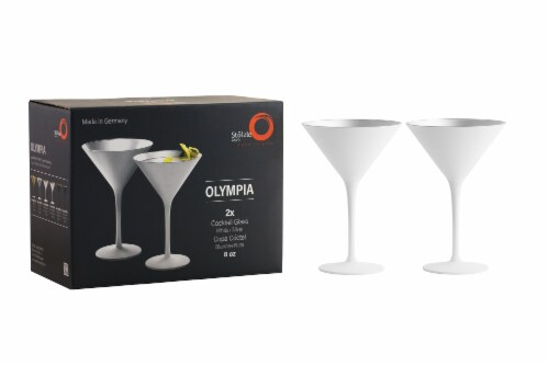 Stolzle Lausitz Olympia Cocktail Glasses - Matte White/Silver - 2 Pack Perspective: right