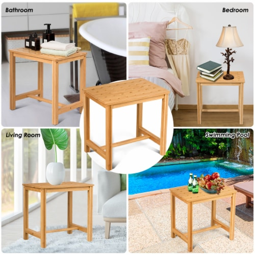 Costway 18'' Shower Stool Bamboo Shower Bench Bath Spa Seat with Storage Shelf Natural Perspective: right