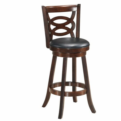 Costway Set of 2 Bar Stools 29'' Height Wooden Swivel Backed Dining Chair Home Kitchen Perspective: right
