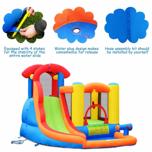 Costway Inflatable Bounce House Kid Water Splash Pool Slide Jumping Castle w/740W Blower Perspective: right