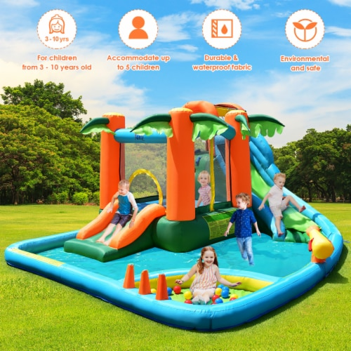 Costway Inflatable Bounce House Kids Water Splash Pool Dual Slide Jumping Castle w/ Bag Perspective: right