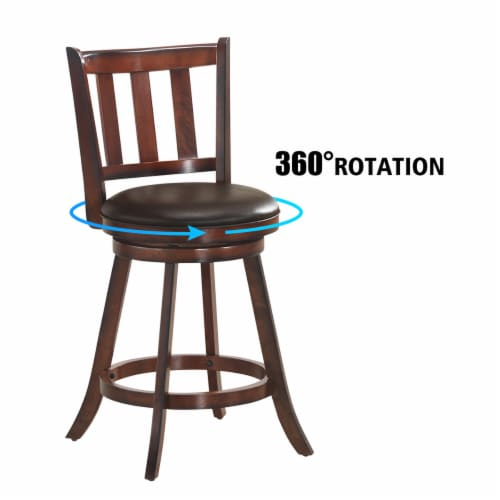 Costway Set of 2 25'' Swivel Bar stool Leather Padded Dining Kitchen Pub Bistro Chair High Perspective: right