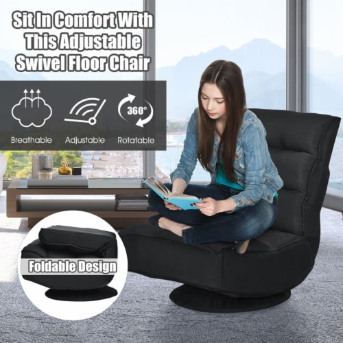Costway Gaming Chair Fabric 5-Position Folding Lazy Sofa 360 Degree Swivel Black Perspective: right