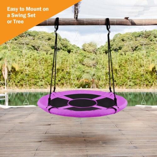 Costway 40'' Flying Saucer Tree Swing Indoor Outdoor Play Set Kids Christmas Gift Purple Perspective: right