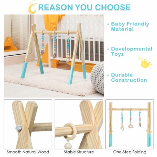 Foldable Wooden Baby Gym with 3 Wooden Baby Teething Toys Hanging Bar Green Perspective: right