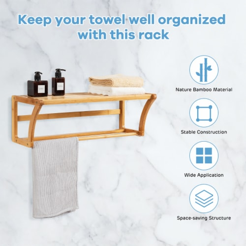 Costway Bamboo Towel Rack Wall Mounted Storage Shelf Bar Bathroom Natural Perspective: right