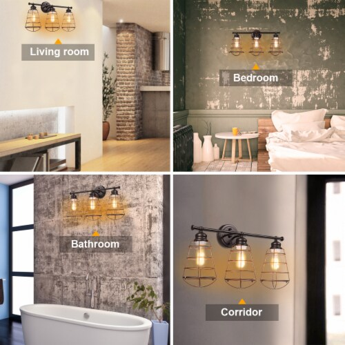 Costway 3-Light Vanity Light Metal Wire Cage Wall Sconce Bathroom Fixture Artist Lamp Perspective: right