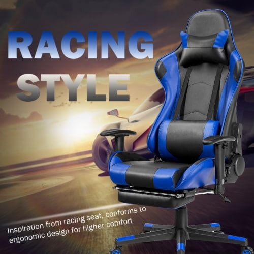Costway Gaming Recliner Racing Chair w/ Lumbar Support & Footrest Blue Perspective: right