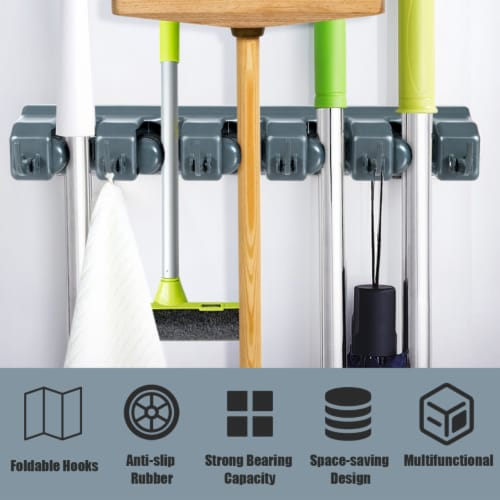 Costway Mop Broom Holder Garden Tool Rack Organizer 5 Positions w/6 Hooks Wall Mounted Perspective: right