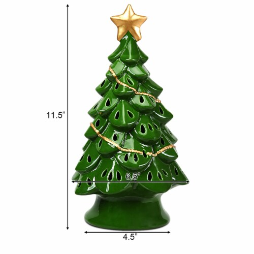 Costway 11.5''Pre-Lit Ceramic Christmas Tree Tabletop Lights Green Perspective: right