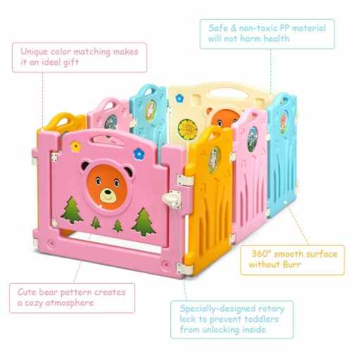 Costway 8 Panel Kids Baby Playpen Activity Center Safety Play Yard Home Indoor Outdoor Perspective: right