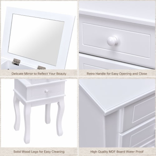 Costway Stand Organizer Jewelry Cabinet Armoire Storage Chest Wood White Perspective: right
