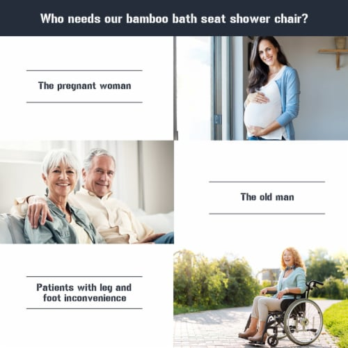 Costway Bamboo Bath Seat Shower Chair Square Shaped Stool Slip-Resistant Rubber Tip New Perspective: right