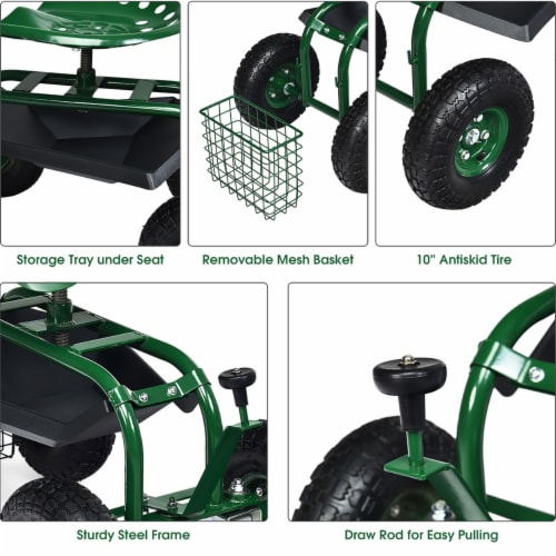 Costway Garden Cart Rolling Work Seat w/ Tool Tray Basket Green Perspective: right