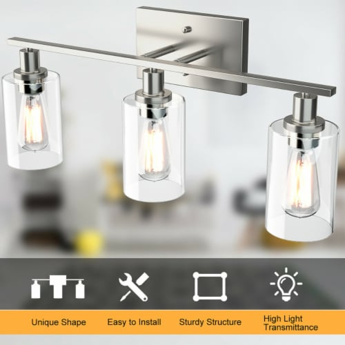 Costway 3-Light Wall Sconce Modern Bathroom Vanity Light Fixtures w/ Clear Glass Shade Perspective: right